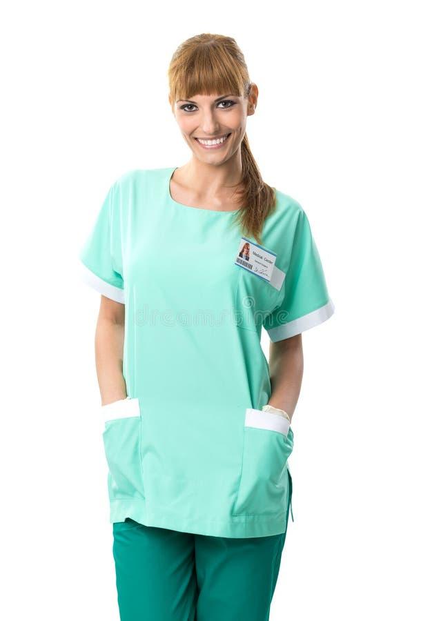 Bello ritratto del chirurgo in vestito verde immagini stock