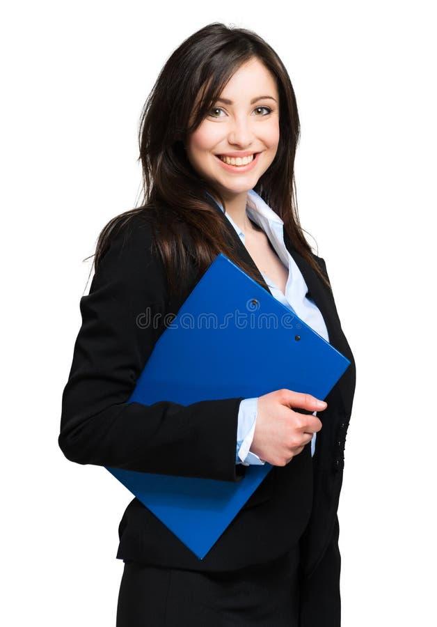 Bello ritratto della donna del businessn isolato su bianco fotografia stock