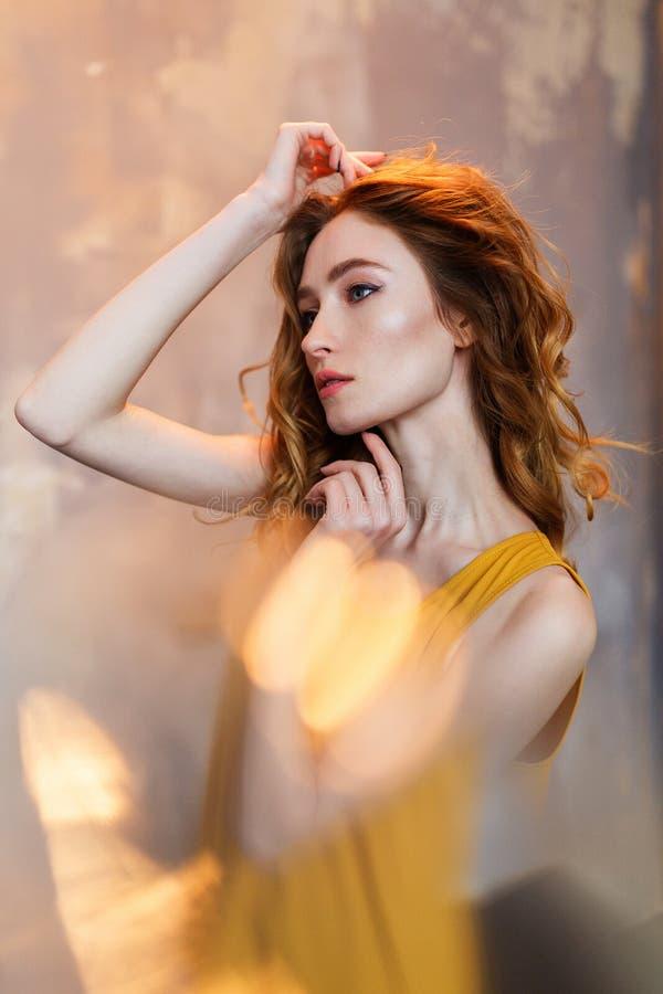 Bello ritratto della donna di alta moda con gli effetti astratti del bokeh fotografia stock