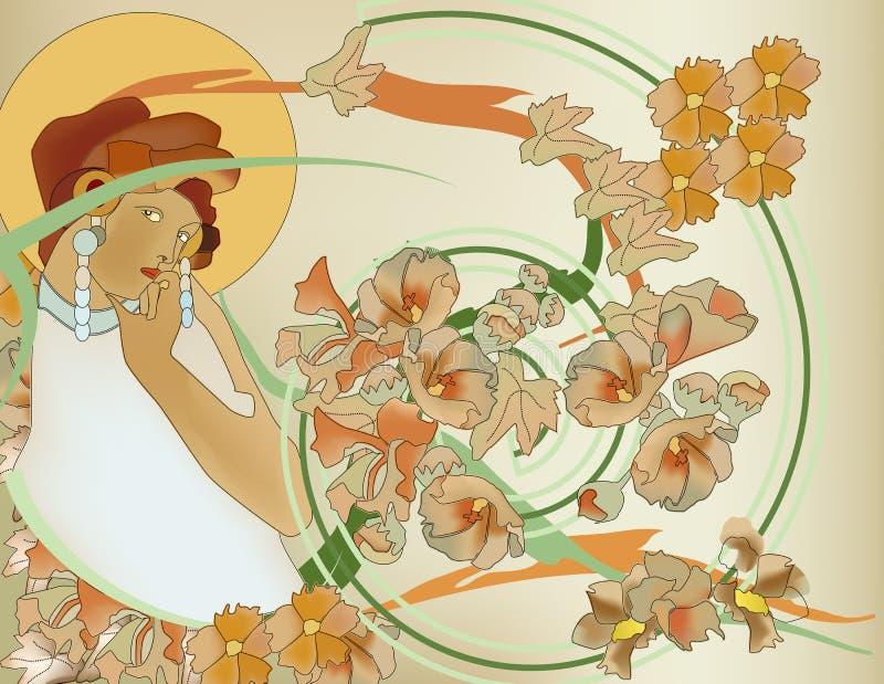 Bello ritratto della donna di nouveau di arte illustrazione vettoriale