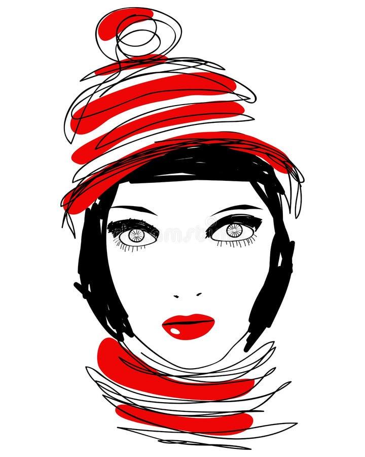 Bello ritratto disegnato a mano della donna di inverno di stile illustrazione vettoriale