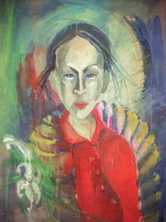 Bello ritratto disegnato a mano della giovane donna Donna di modo Ragazza sveglia con i fiori Pittura fotografie stock libere da diritti