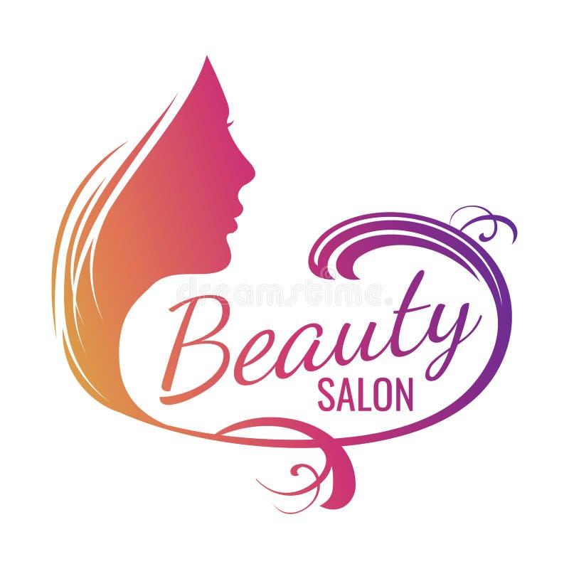 Bello ritratto femminile del fronte - emblema del salone di bellezza illustrazione vettoriale