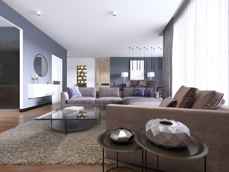 Bello salone interno con i pavimenti di legno duro ed il colore viola del grande sofà dell'angolo nella nuova casa di lusso Stile illustrazione vettoriale