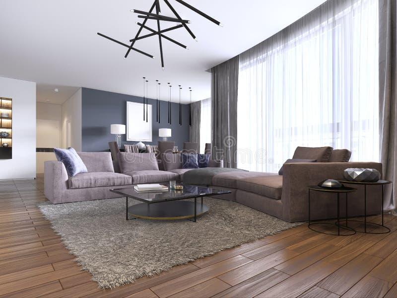 Bello salone interno con i pavimenti di legno duro ed il colore viola del grande sofà dell'angolo nella nuova casa di lusso Stile illustrazione di stock
