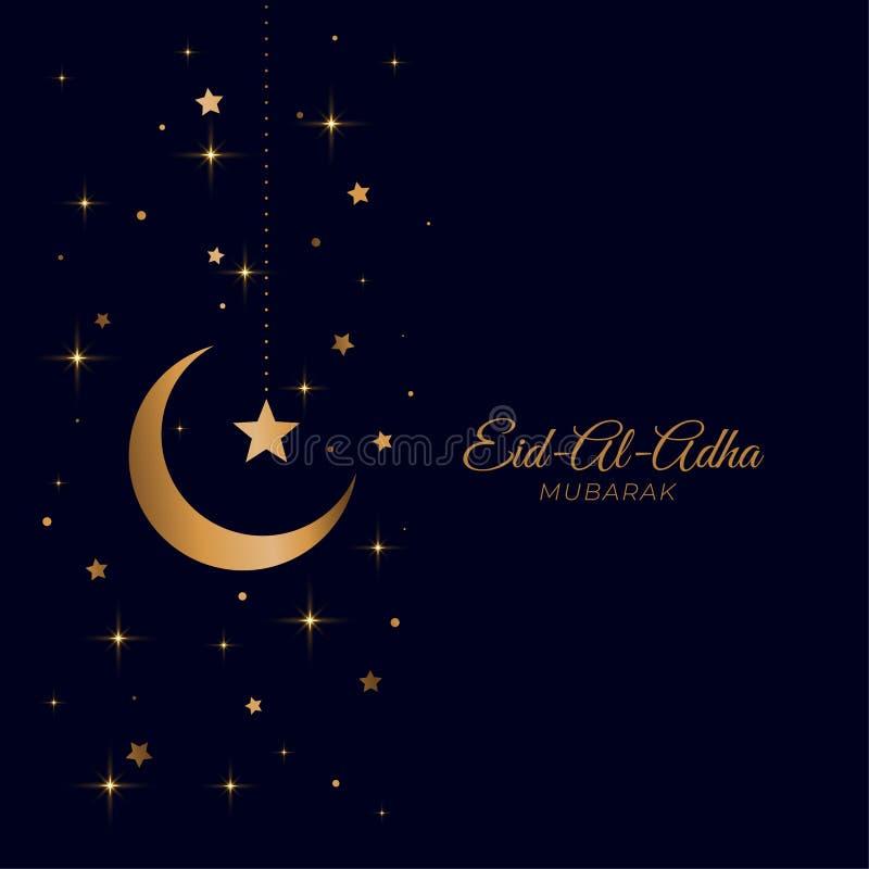 Bello saluto dorato della luna e della stella di Eid Al Adha illustrazione di stock
