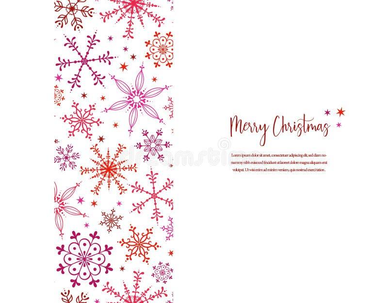 Bello schema verticale di snowflake - mano in rosso e rosa, grande per inviti, striscioni, sfondi - superficie vettoriale illustrazione di stock