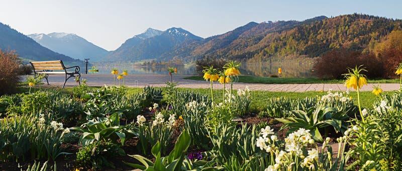 Bello schliersee springlike del giardino della stazione termale con il banco ed il Mountain View fotografia stock