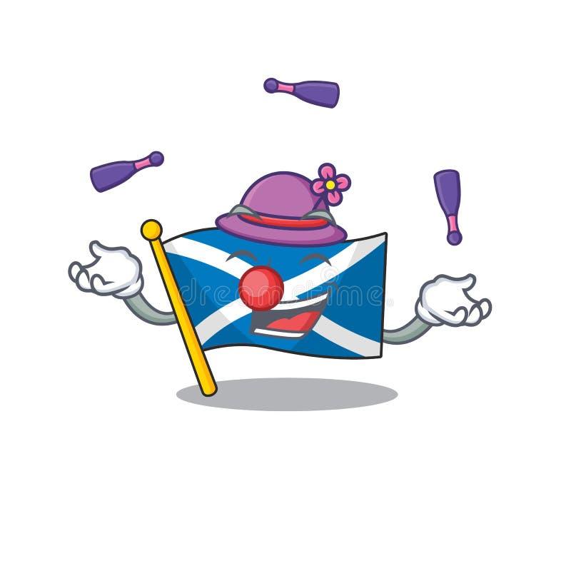 Bello scotland Scorrimento di uno stile di vignetta mascotte che gioca a Giocoliere illustrazione vettoriale