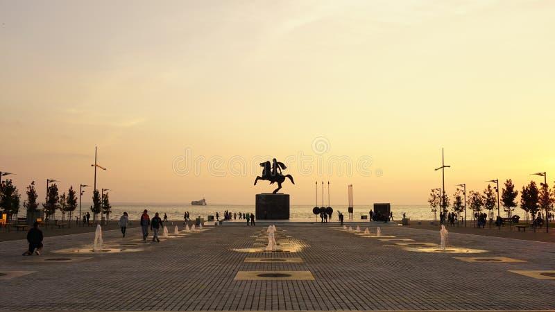 Bello sole di pomeriggio a Salonicco, Grecia immagine stock