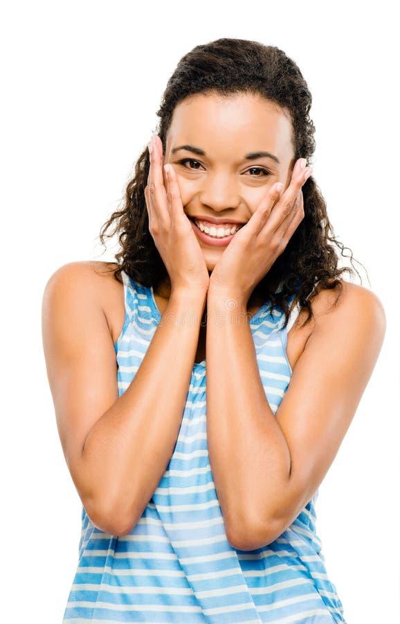 Bello sorridere africano della donna del ritratto isolato su backg bianco fotografia stock