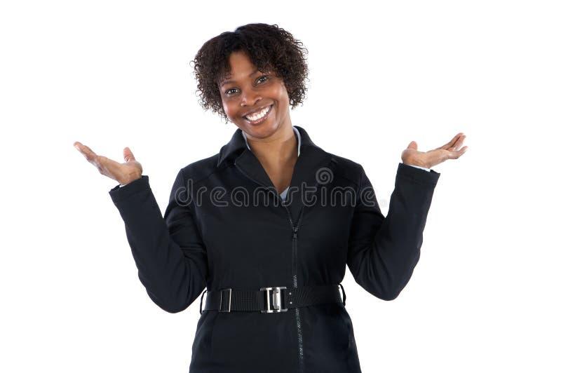 Bello sorridere africano della donna di affari della donna fotografia stock