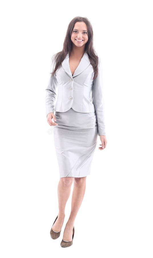 Bello sorridere della donna di affari isolato sopra un bianco immagine stock