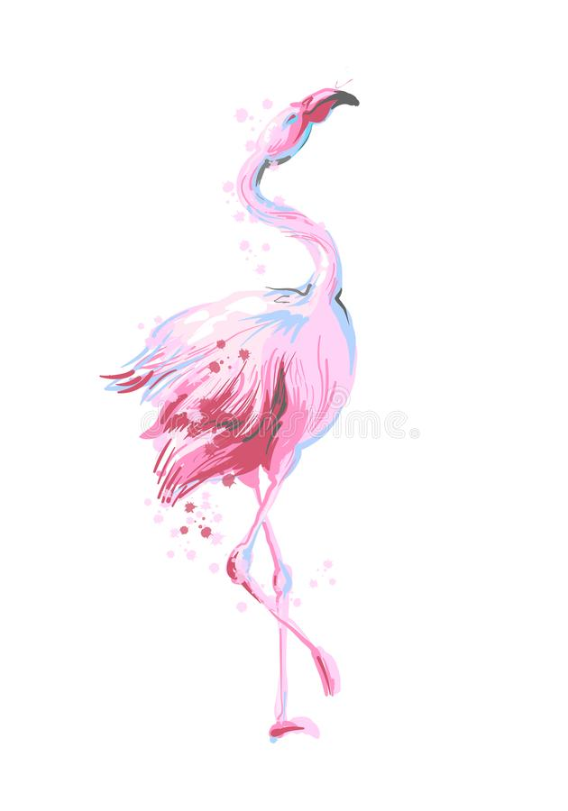 Bello sorridere femminile del fenicottero di rosa di dancing isolato su fondo bianco con spruzzata rosa per le stampe, abito di m royalty illustrazione gratis