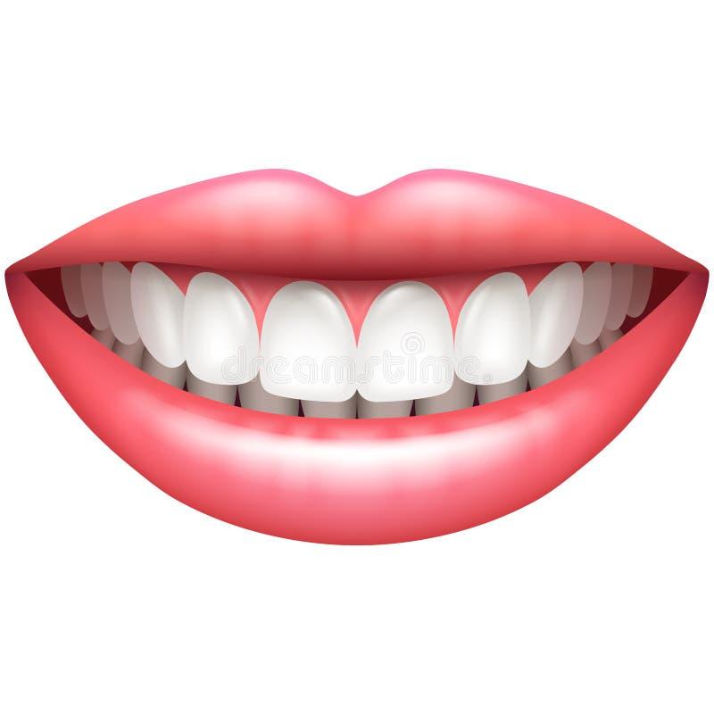 Bello sorriso della donna dei denti sani isolato sul vettore bianco illustrazione di stock