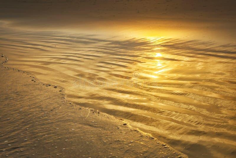 Bello specchio d'oro del tramonto sulla spiaggia con fotografia stock