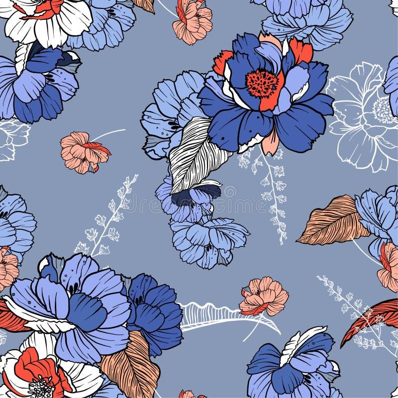 Bello stile botanico dolce di schizzo della lenza a mano dei fiori Progettazione senza cuciture dell'illustrazione del modello di illustrazione vettoriale