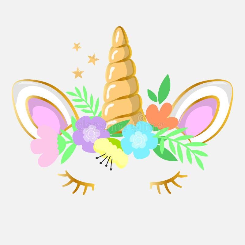 Bello stile del fumetto dell'unicorno di sorriso Cartolina d'auguri Illustrazione di vettore illustrazione vettoriale