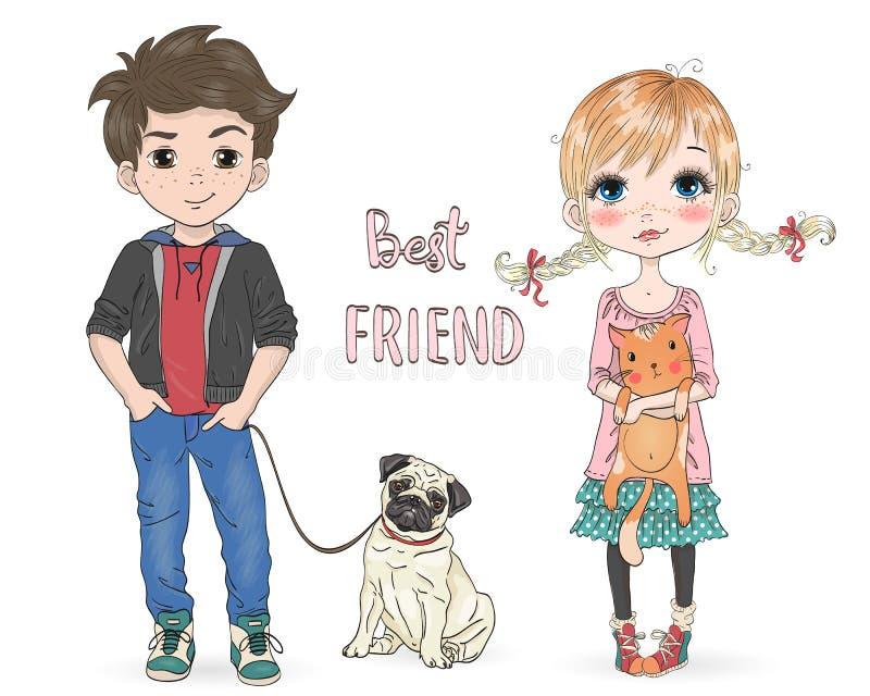 Bello, sveglio disegnati a mano, bambina con il gatto grazioso e ragazzo del fumetto con il carlino del cane illustrazione di stock