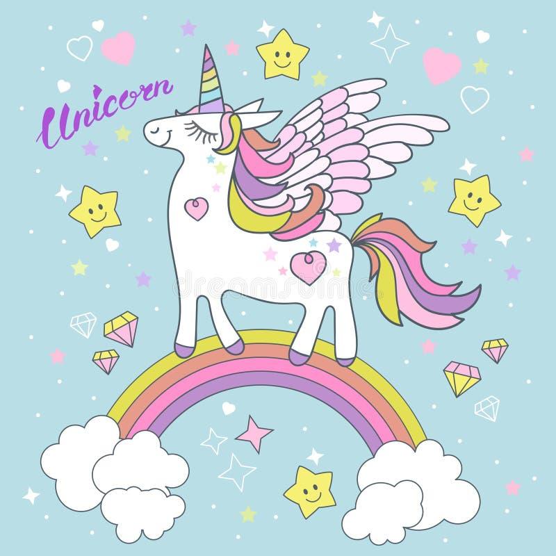 Bello, sveglio, unicorno bianco del fumetto Vettore royalty illustrazione gratis