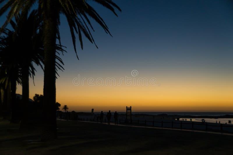 Bello tramonto africano sopra il boulevard fotografie stock
