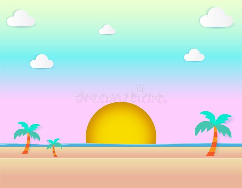 Bello tramonto alla spiaggia, vista sul mare di vista del mare e di tramonto ed illustrazione piana pastello naturale di vettore  illustrazione di stock