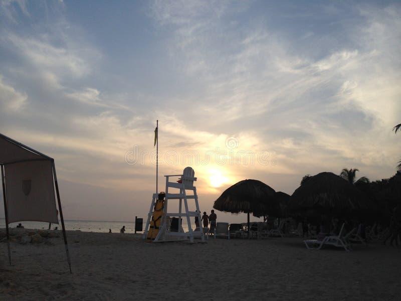 Bello tramonto a Cartagine Colombia fotografia stock libera da diritti