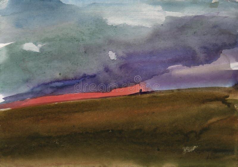 Bello tramonto dell'acquerello Acquerello dipinto tramonto dell'etude dalla natura immagini stock libere da diritti