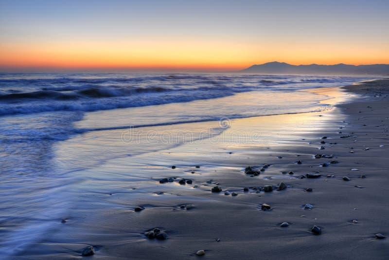 Bello tramonto della Costa del Sol fotografia stock libera da diritti