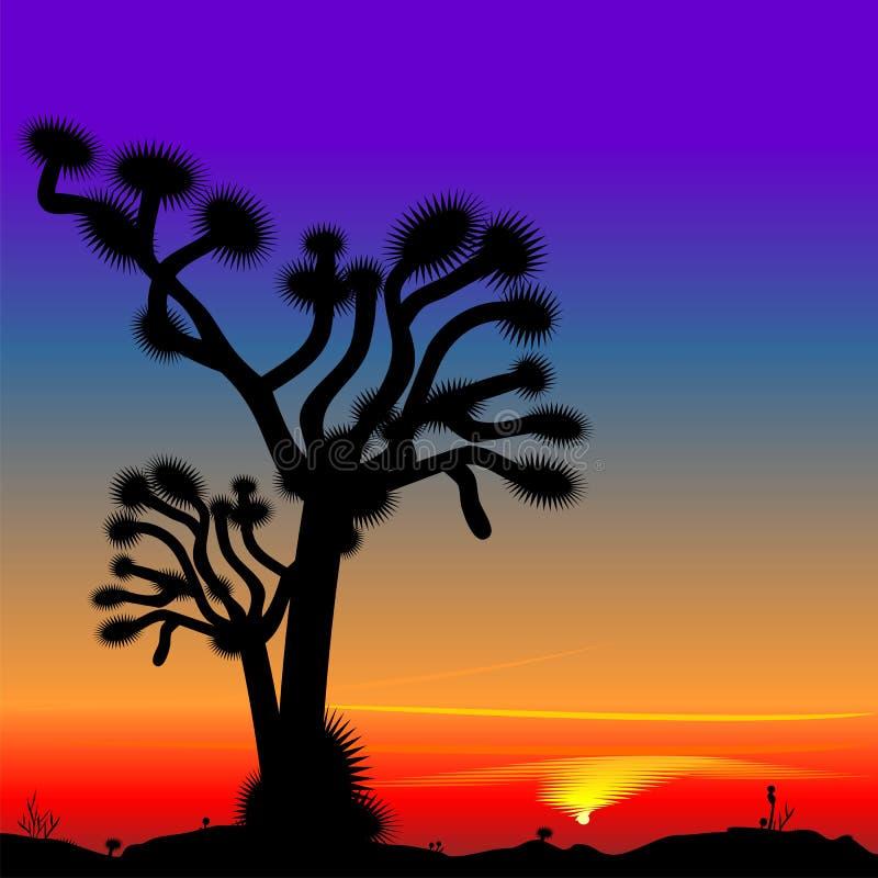 Bello tramonto luminoso nel deserto illustrazione vettoriale