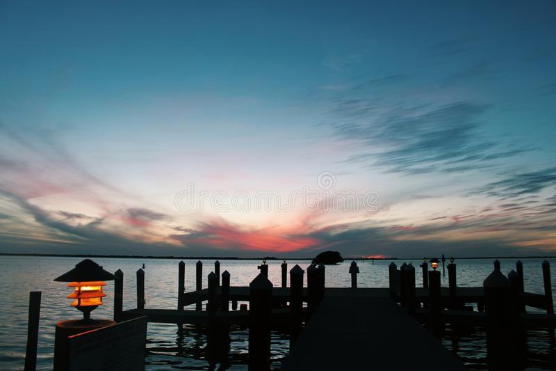 Bello tramonto a Miami Florida immagini stock libere da diritti
