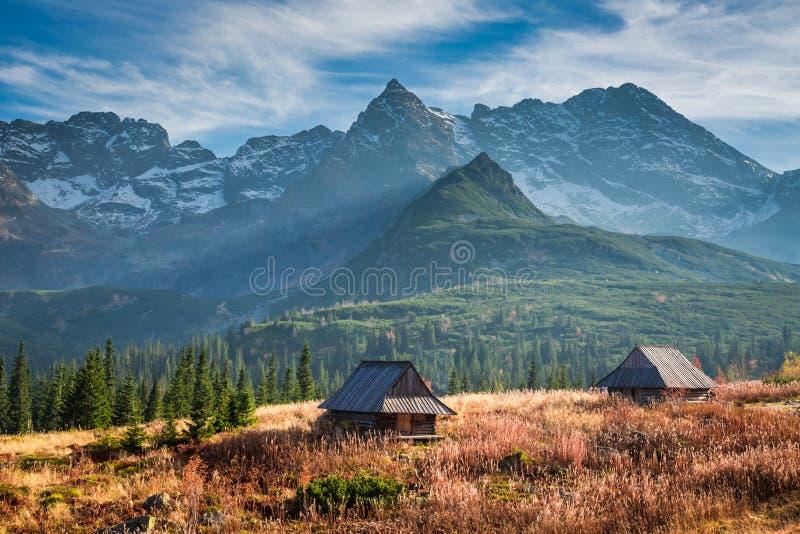 Bello tramonto nella valle della montagna, Tatras in Polonia immagini stock