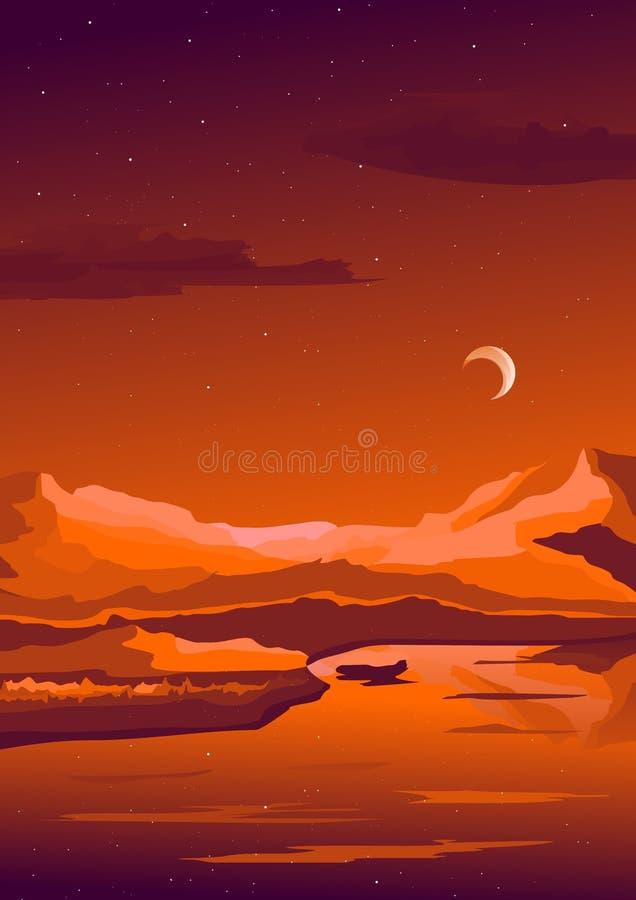 Bello tramonto sopra le montagne Alpinismo ed illustrazione di viaggio di vettore Vacanza e concetto all'aperto di ricreazione illustrazione vettoriale