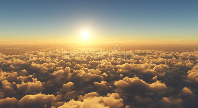Bello tramonto sopra le nuvole fotografia stock