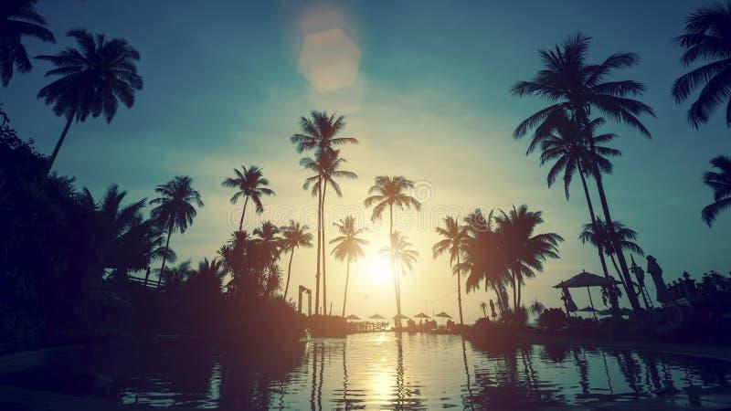 Bello tramonto su una spiaggia tropicale nave fotografie stock libere da diritti