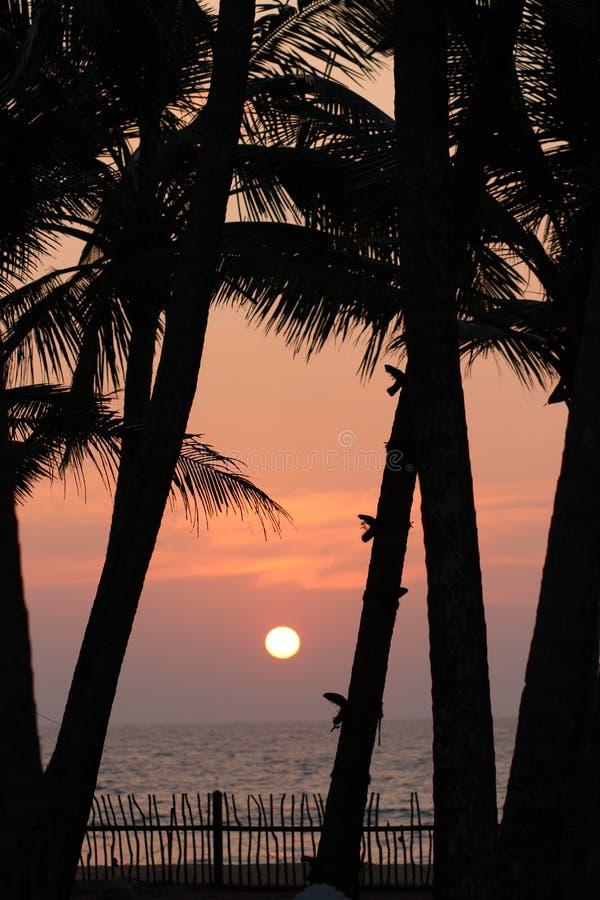 Bello tramonto sull'Oceano Indiano fotografia stock