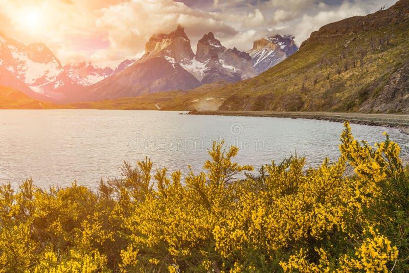 Bello tramonto in Torres del Paine, Cile fotografia stock libera da diritti