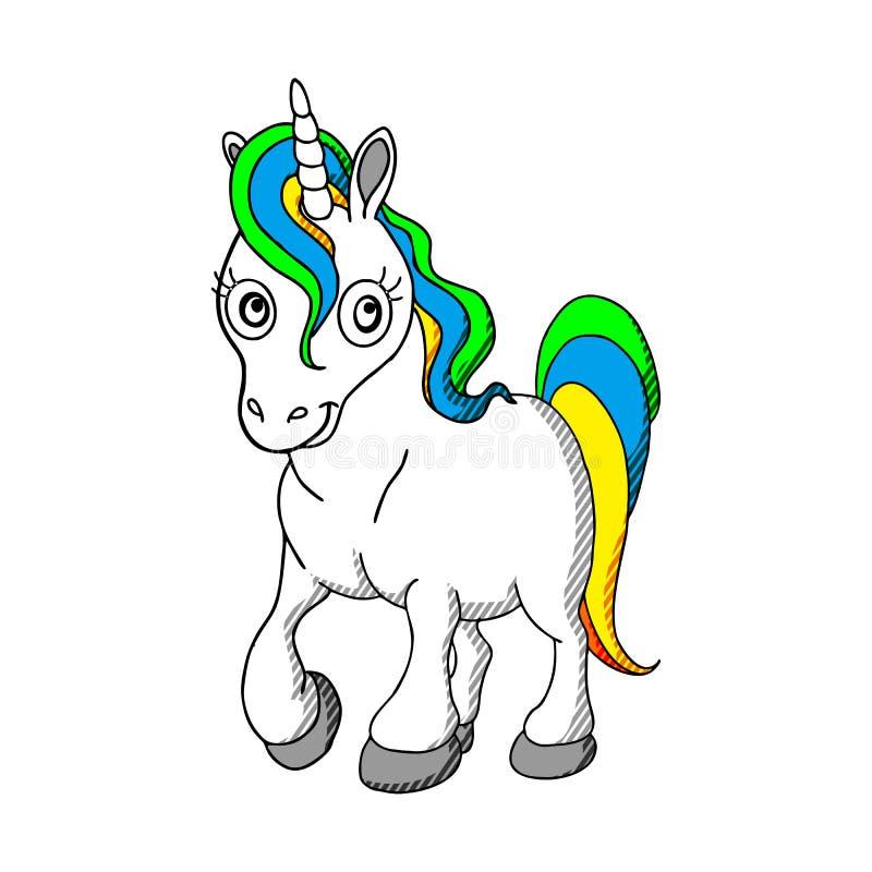 Bello unicorno sulle nuvole con l'illustrazione delle stelle, vettore royalty illustrazione gratis