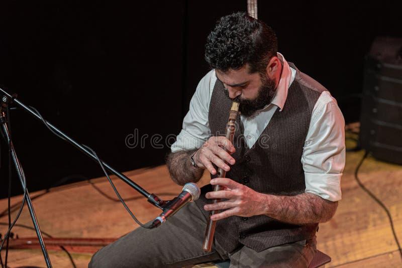 Bello uomo con la barba nera spessa, giochi del musicista in scena immagine stock
