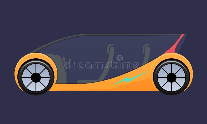 Bello veicolo elettrico costoso di multi-Seat, automobile con le porte che si aprono verso l'alto illustrazione di stock