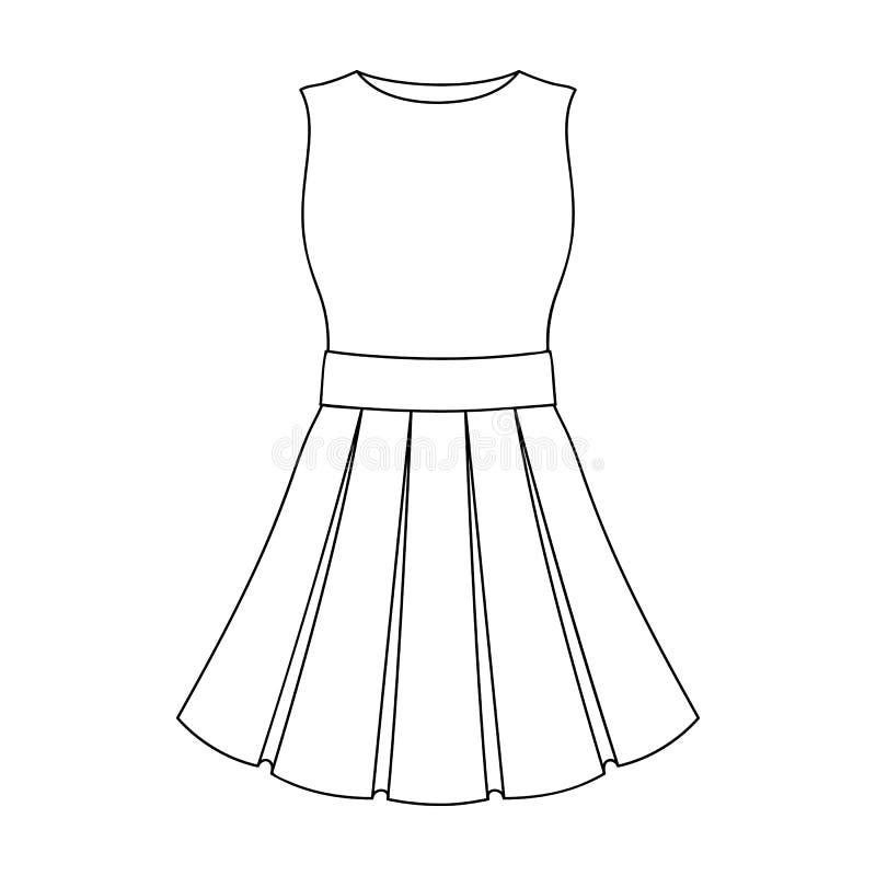 Bello vestito leggero da estate senza maniche Abbigliamento per un aumento alla spiaggia Icona dell'abbigliamento delle donne sin illustrazione vettoriale