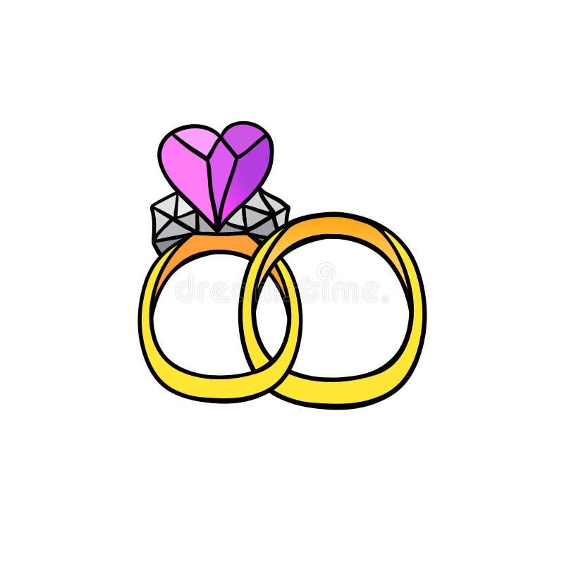 Bello vettore dell'anello di nozze illustrazione vettoriale