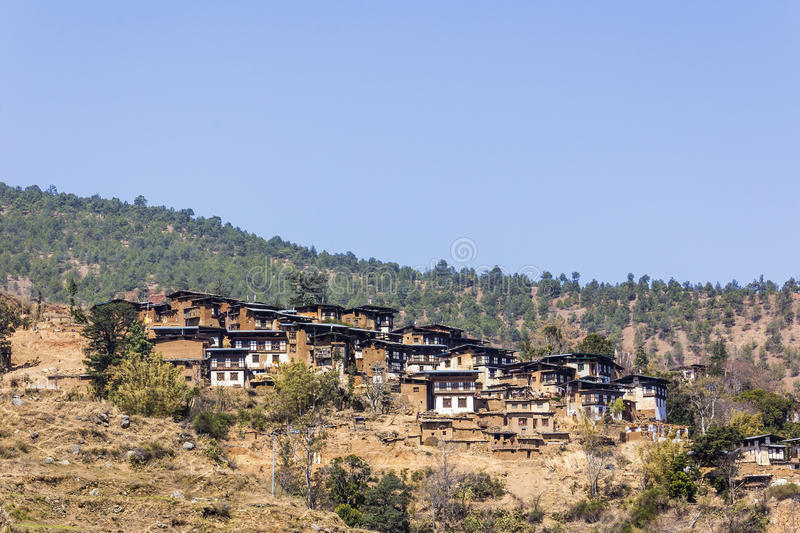 Bello villaggio, Bhutan fotografia stock