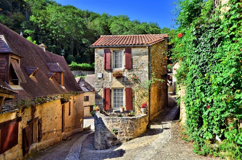 Bello villaggio della Dordogna di Beynac, Francia fotografie stock libere da diritti