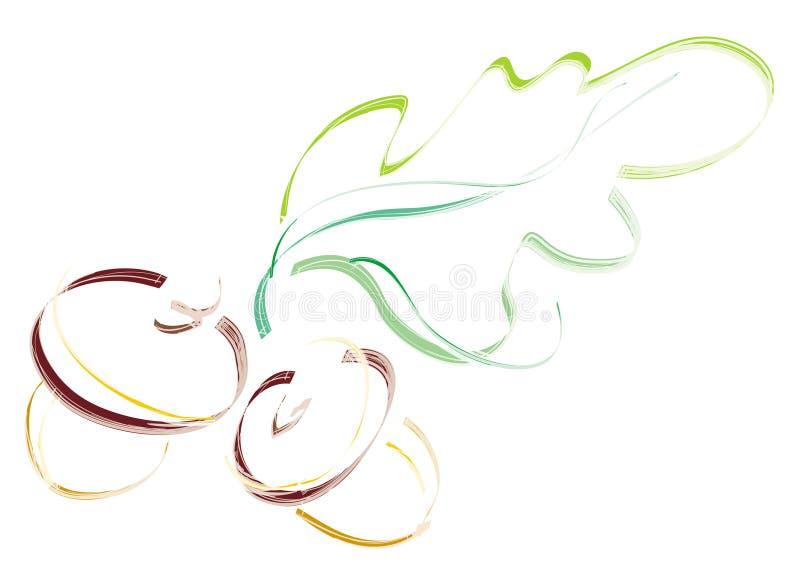 Bellotas con la hoja. Ilustración artística libre illustration
