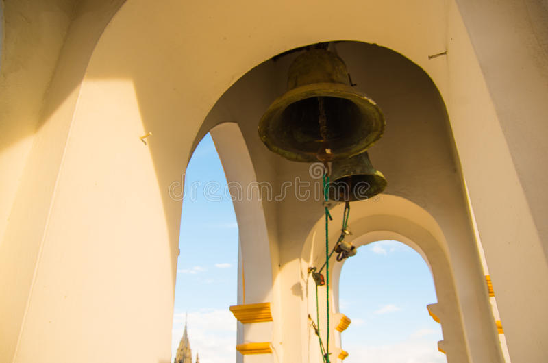Bells in Basilica of the National Vow, a Roman Catholic church, Quito, Ecuador.  royalty free stock images