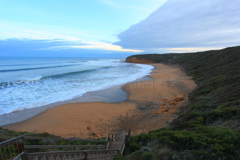 Bells beach. Stairs leading down to Bells Beach. Bells Beach is home to the Rip Curl Pro surfing event and a popular travel destination royalty free stock images