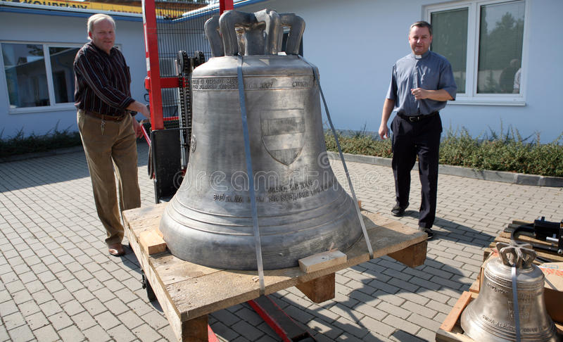 Bells for blessing from Pope Benedict XVI. Three new bells which will bless Pope Benedict XVI on 27th September arrive on Sept 21st to Brno, Czech republic. The royalty free stock images