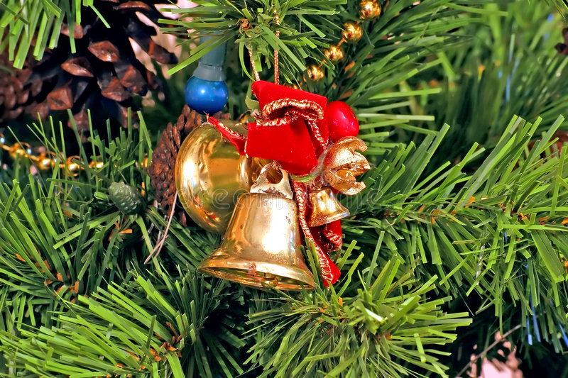 Download Bells And Bows Christmas Tree Ornaments Stock Photo - Image: 1043306