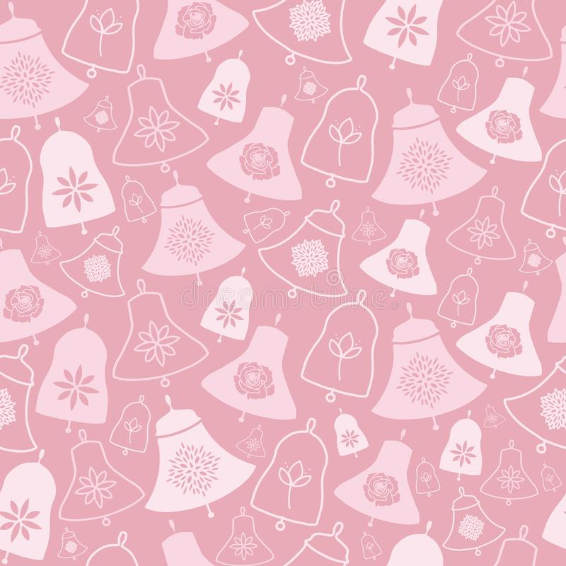 Bells roses et modèle sans couture de fleurs illustration libre de droits
